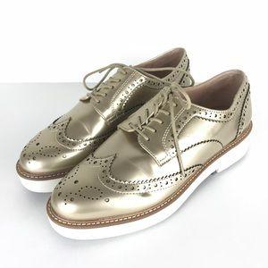 Zara Metallic Gold Wingtip Oxford Platform Shoes